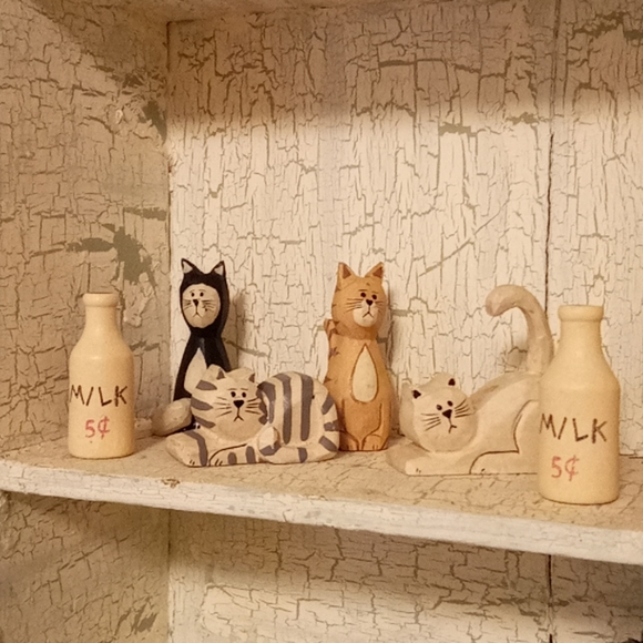 Set of 6 Wooden Cats and Milk Figurines